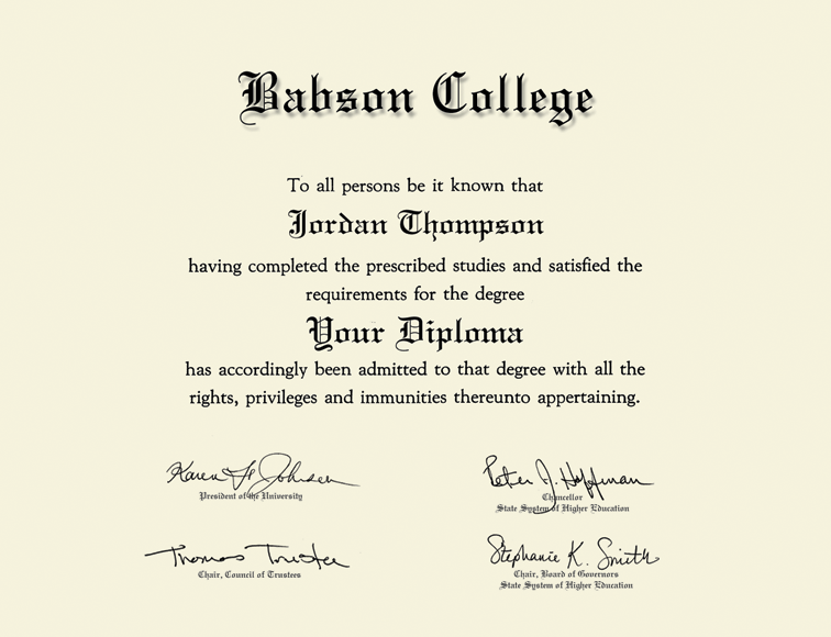 Babson College Double Document Diploma Frame In Gallery