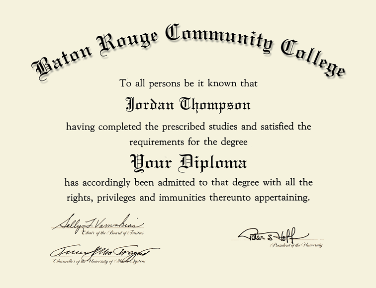 Baton Rouge Community College Gold Embossed Diploma Frame