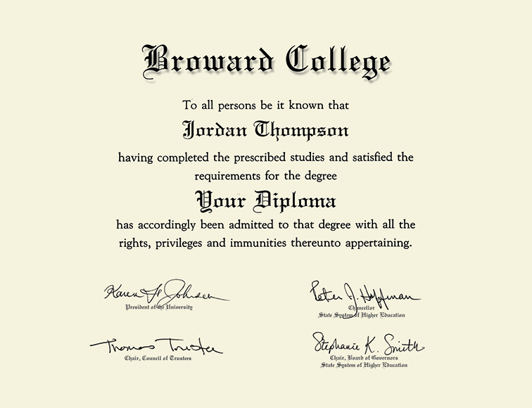 Broward College Silver Embossed Diploma Frame In Gallery