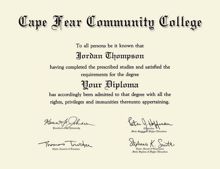Cape Fear Community College Gold Embossed Diploma Frame In