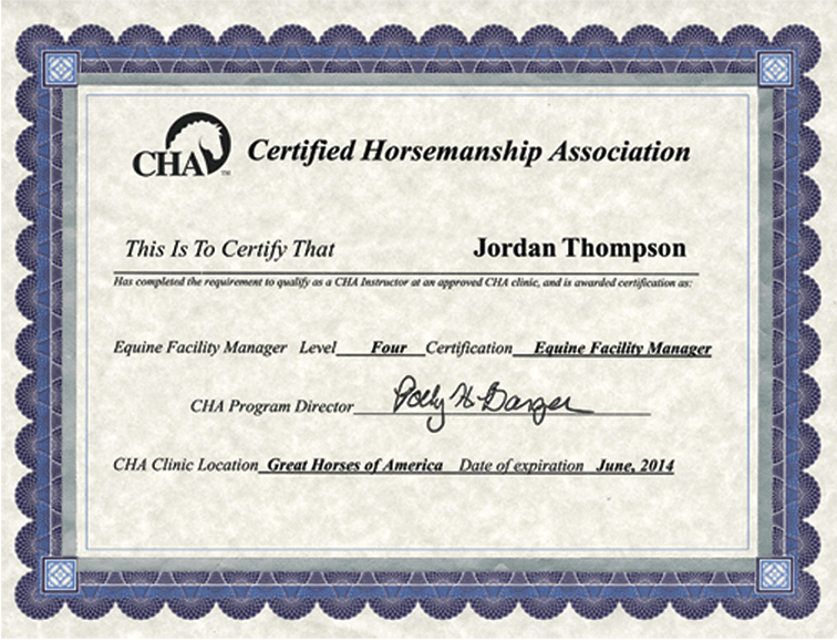Certified Horsemanship Association Dimensions Certificate Frame in ...