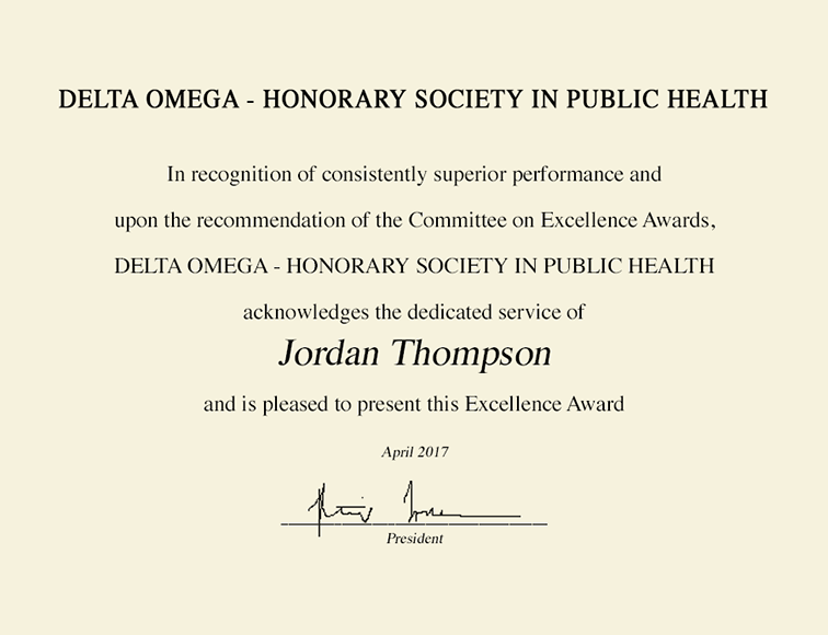 Delta Omega Honorary Society in Public Health Gold Embossed ...