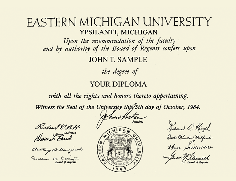 Eastern Michigan University Silver Embossed Diploma Frame