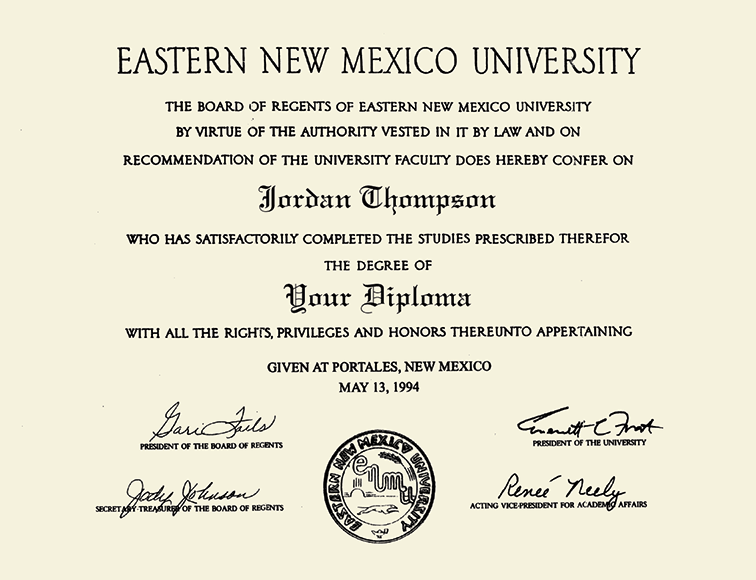 Eastern New Mexico University Double Diploma Frame In