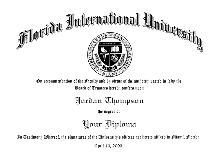 Florida International University Gold Embossed Diploma