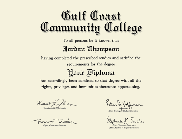 Gulf Coast Community College Gold Embossed Diploma Frame