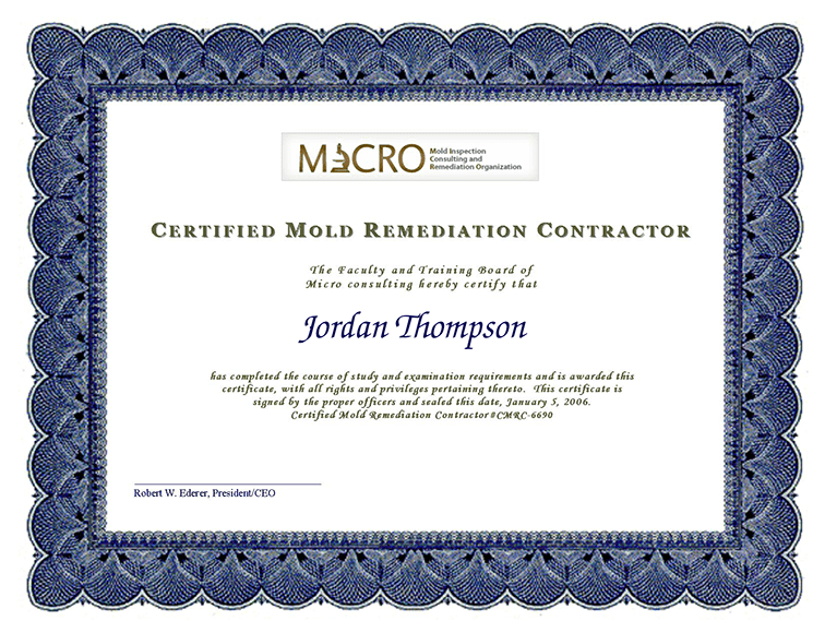 Free Water And Mold Remediation Certificates 72