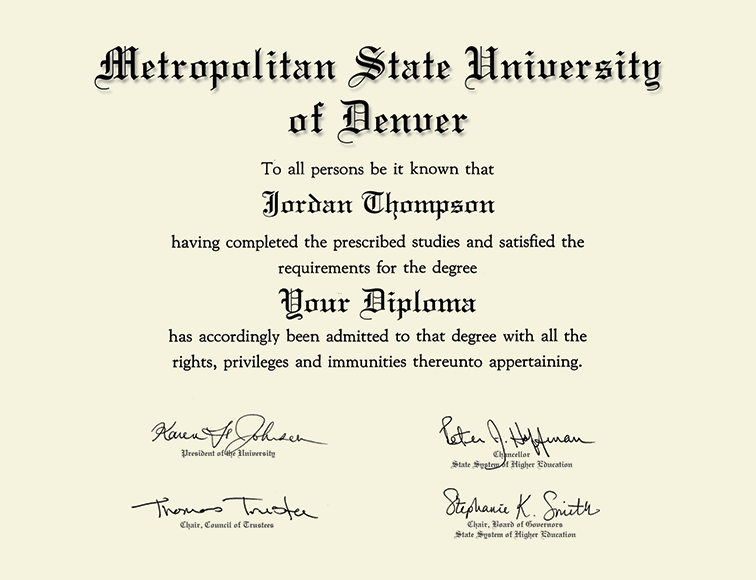 Metropolitan State University Of Denver Silver Embossed