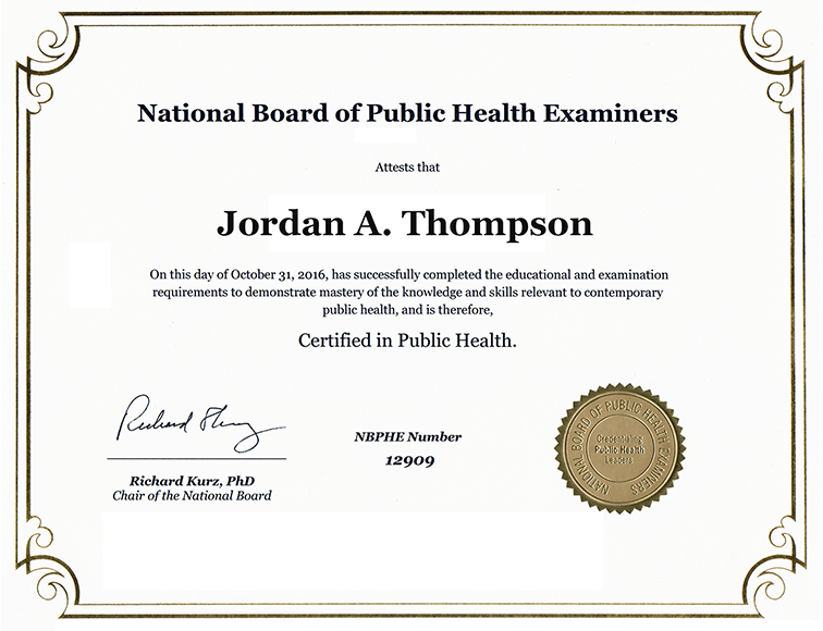 National Board of Public Health Examiners Dimensions Certificate ...