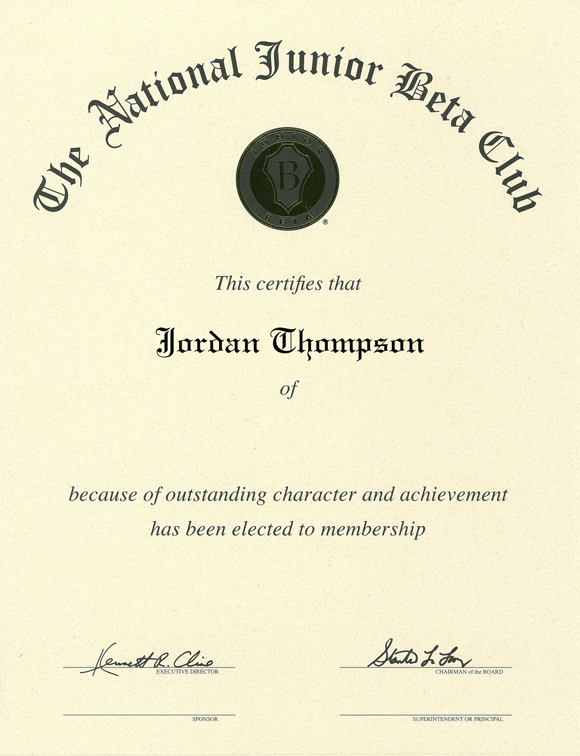 The National Junior Beta Club Gold Embossed Certificate