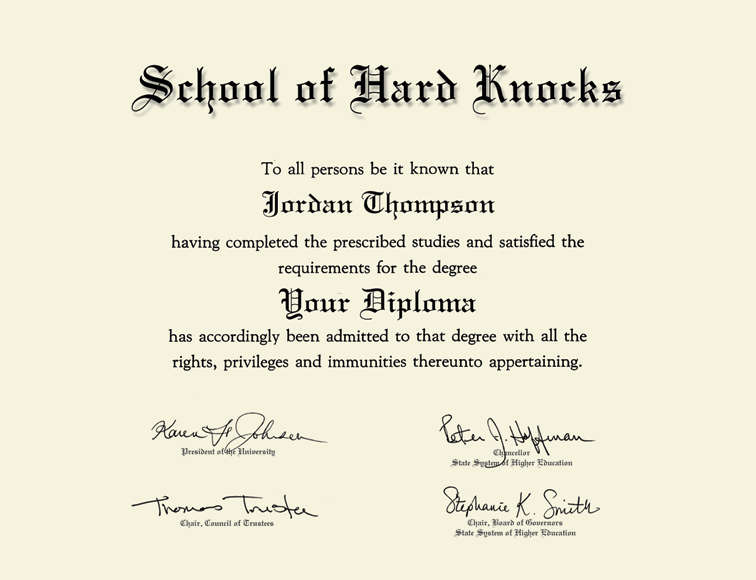 School Of Hard Knocks Gold Embossed Diploma Frame In