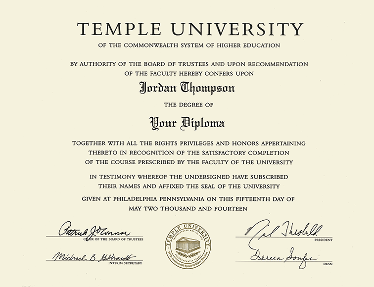 Temple University Gold Embossed Diploma Frame In Gallery