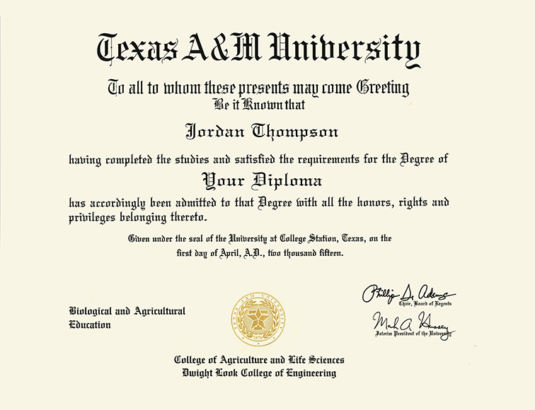 Texas A Amp M University Presidential Masterpiece Diploma