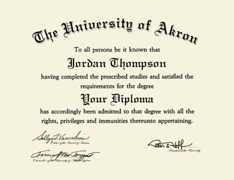 The University Of Akron Gold Embossed Diploma Frame In