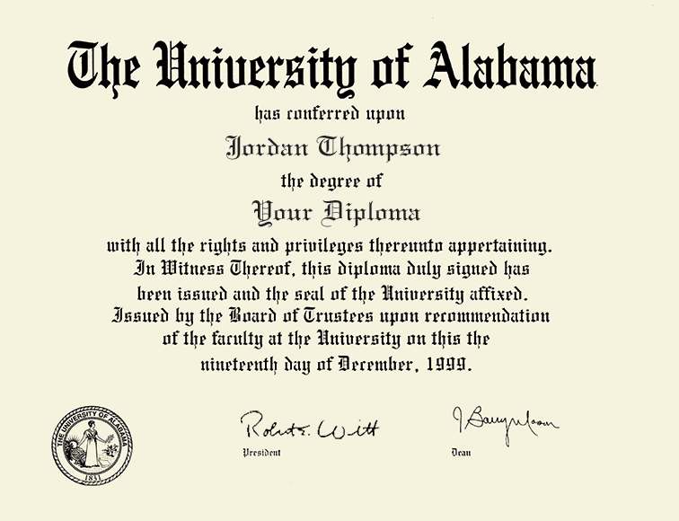 The University of Alabama Tuscaloosa Dimensions Diploma Frame in ...
