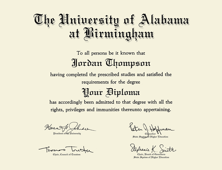 The University of Alabama at Birmingham Gold Embossed Diploma Frame ...