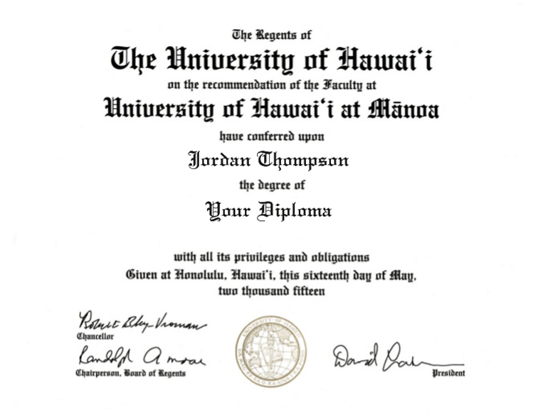 University Of Hawaii At Manoa Gold Embossed Diploma Frame