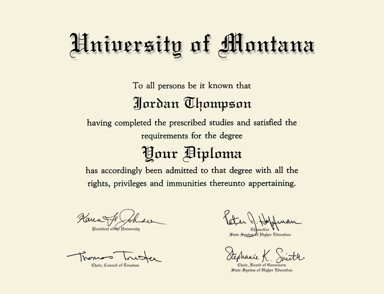 University Of Montana Missoula Tassel Edition Diploma