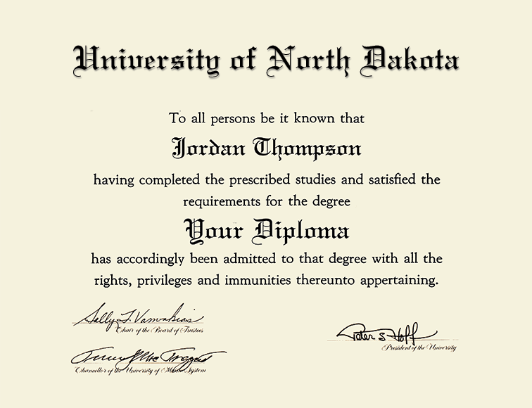 University of North Dakota Millennium Silver Engraved Diploma Frame ...