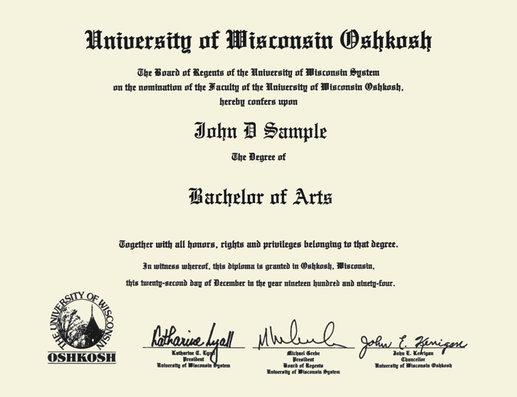 University Of Wisconsin Oshkosh Tassel Edition Diploma