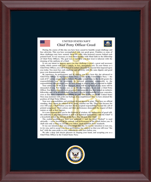 The Chief Petty Officer's Creed Frame in Cambridge