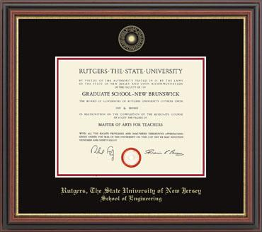 Rutgers, The State University of New Jersey Gold Embossed Diploma ...