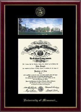 University Of Missouri Columbia Campus Scene Diploma Frame