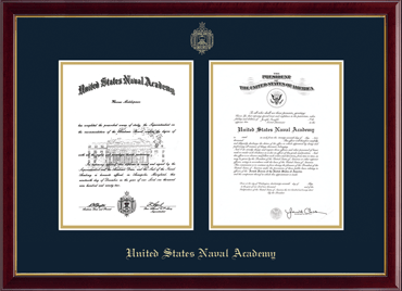United States Naval Academy Gold Embossed Double Diploma
