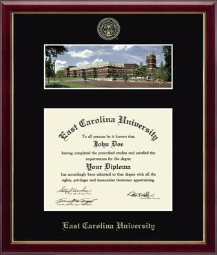 East Carolina University Library Campus Scene Diploma