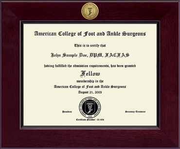american college of foot and ankle surgeons century gold engraved  american college of foot and ankle surgeons century gold engraved certificate frame in cordova item 196891 from american college of foot and ankle