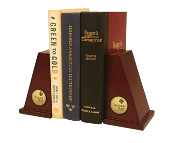 Portland State University Gold Engraved Bookends Item