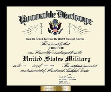 Honorable Discharge Certificate Frame in Metro
