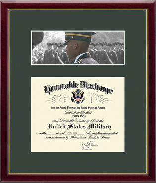 US Army Photo and Honorable Discharge Certificate Frame  - Troops in Galleria
