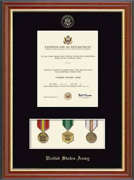 United States Army Medal Display Certificate Frame In
