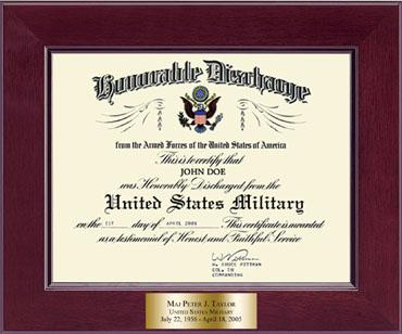 Honorable Discharge Certificate Frame in Cordova