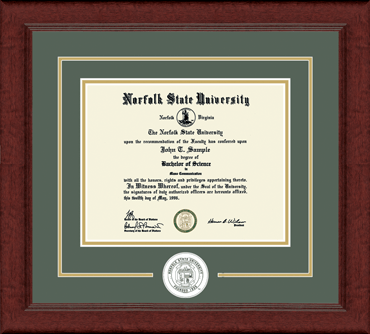 Norfolk State University Associate S Lasting Memories Circle Logo Diploma Frame In Sierra Item 225303 From Norfolk State University