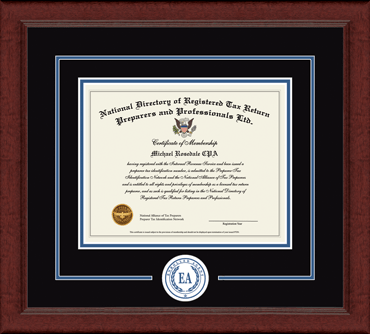 Enrolled Agent Lasting Memories Circle Logo Certificate Frame in Sierra
