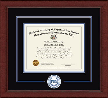 Registered PTIN Tax Professional Lasting Memories Circle Logo Certificate Frame in Sierra
