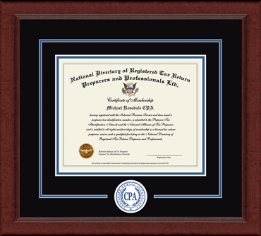 Certified Public Accountant Lasting Memories Circle Logo Certificate Frame in Sierra