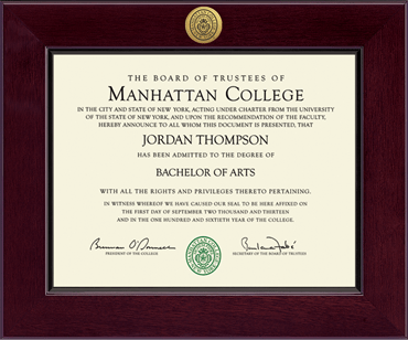 manhattan college diploma frame