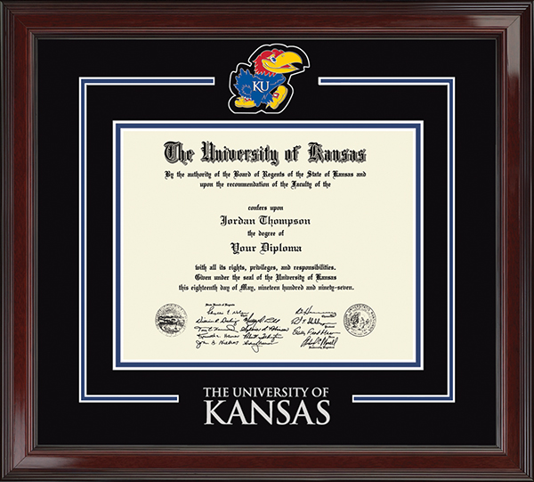 Jayhawk Spirit Medallion Diploma Frame in Encore