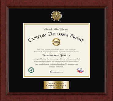 Gold Engraved Medallion Personalized Diploma Frame in Sierra
