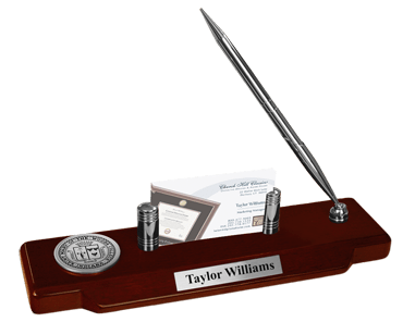 Silver Engraved Medallion Desk Pen Set