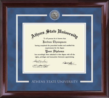 Silver Engraved Medallion Diploma Frame in Encore