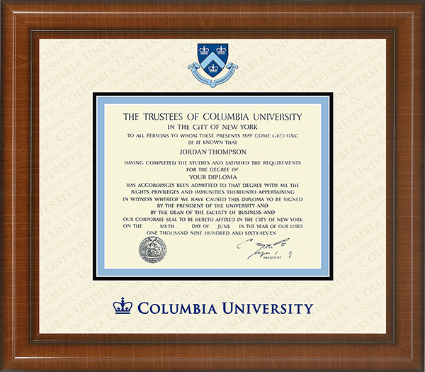Columbia University Dimensions Plus Diploma Frame In