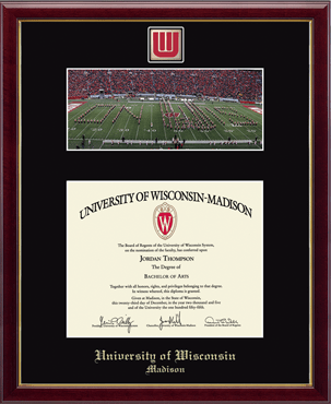 Campus Scene Spirit W Band Logo Medallion Diploma Frame in Galleria