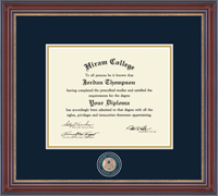 Hiram College Diploma Frame - Masterpiece Medallion Diploma Frame in Kensington Gold