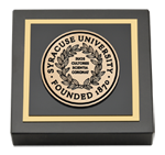 Syracuse University Paperweight - Black Enamel Medallion Paperweight