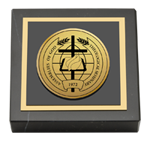 Assemblies of God Theological Seminary Paperweight - Gold Engraved Medallion Paperweight