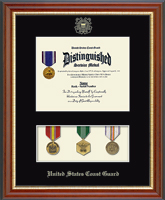 United States Coast Guard Certificate Frame - Medal Display Certificate Frame in Newport
